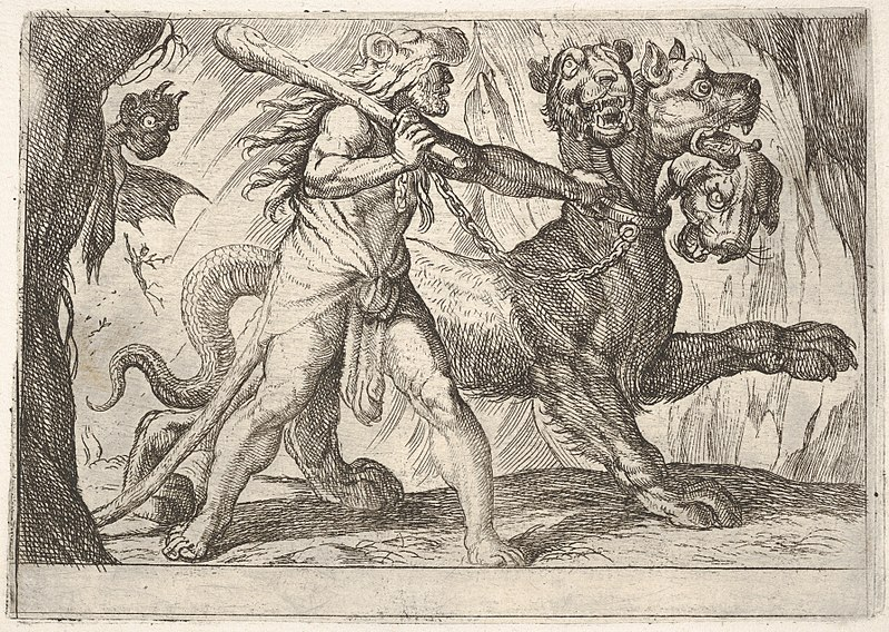 What's Your Mutt DNA An etching of Hercules and Cerberus: Hercules grasps the collar of Cerberus, two demons appear at left, from the series 'The Labors of Hercules' from 6008