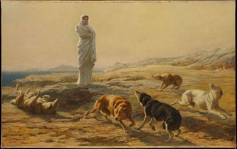 "A painting titled ""Pallas Athena and the herdsman's dogs"" painted by Briton Riviére in 1876 depicting the goddess Athena looking over 5 hunting dogs"
