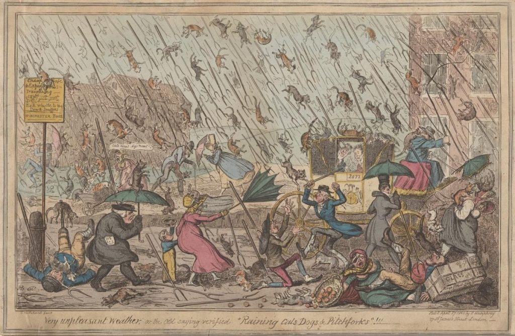 "A painting by George Cruikshank called ""Very Unpleasant Weather"", painted in 1835, of people in a town being rained on by cats and dogs."