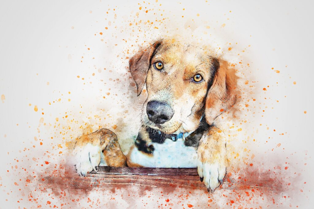 Portrait painting of a hound dog with its paws up on a table